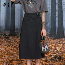 skirt Autumn 2020 S M L blackish green longuette commute High waist A-line skirt Solid color Type A 25-29 years old Wool Pit (clothing) zipper Same model in shopping mall (sold online and offline)