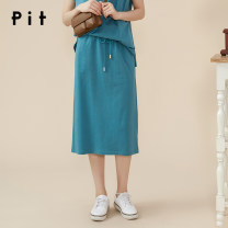 skirt Summer 2020 S M L Lake blue Middle-skirt Natural waist Solid color 25-29 years old More than 95% Pit (clothing) cotton Cotton 100% Same model in shopping mall (sold online and offline)