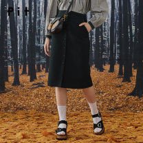 skirt Autumn 2020 S M L blackish green longuette commute High waist A-line skirt Solid color Type A 25-29 years old 51% (inclusive) - 70% (inclusive) Pit (clothing) polyester fiber Button Same model in shopping mall (sold online and offline)