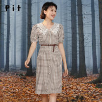 Dress Autumn 2020 lattice S M L longuette singleton  Short sleeve commute V-neck High waist lattice Single breasted A-line skirt routine 18-24 years old Type A Pit (clothing) Button 81% (inclusive) - 90% (inclusive) polyester fiber Same model in shopping mall (sold online and offline)
