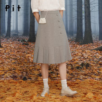 skirt Autumn 2020 S M L grey longuette commute High waist A-line skirt Solid color Type A 25-29 years old 51% (inclusive) - 70% (inclusive) Pit (clothing) polyester fiber Button Polyester fiber 51.1% viscose fiber (viscose fiber) 45.9% polyurethane elastic fiber (spandex) 3%