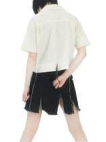 skirt Summer 2020 S,M,L black Short skirt Versatile High waist A-line skirt Solid color Type A 18-24 years old More than 95% Denim cotton