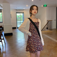 Women's large Summer 2021 Cardigan suspender skirt S M Two piece set commute Long sleeves Broken flowers Korean version One word collar other routine CCC301 Chengjia (clothing) 18-24 years old fungus Short skirt Other 100% Pure e-commerce (online only)