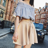Women's large Summer 2021 Two piece suit L XL XS S M Two piece set commute Short sleeve Solid color Korean version One word collar other routine CCC302 Chengjia (clothing) 18-24 years old Three dimensional decoration Short skirt Other 100% Pure e-commerce (online only)