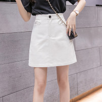 skirt Summer 2021 S M L XL Off white charcoal Short skirt commute High waist A-line skirt Solid color Type A 18-24 years old XH4209#30 91% (inclusive) - 95% (inclusive) Denim Leisure trace other zipper Korean version New polyester 95% other 5% Pure e-commerce (online only)