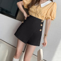 skirt Spring 2021 S M L XL 2XL Black and white Short skirt commute High waist A-line skirt Solid color Type A 25-29 years old XH8706#35s 91% (inclusive) - 95% (inclusive) Leisure trace other Button Korean version New polyester 95% other 5%