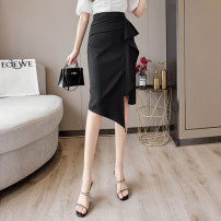 skirt Summer 2021 S M L XL Black and white longuette commute High waist skirt Solid color Type A 25-29 years old XH7752#38 91% (inclusive) - 95% (inclusive) Leisure trace other zipper Simplicity New polyester 95% other 5% Pure e-commerce (online only)