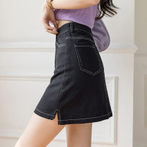 skirt Summer 2021 S M L XL Black apricot Short skirt commute High waist A-line skirt Solid color Type A 25-29 years old XH9702#34 91% (inclusive) - 95% (inclusive) Denim Leisure trace other pocket Korean version New polyester 95% other 5% Pure e-commerce (online only)