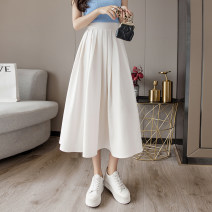 skirt Summer 2021 S M L XL 2XL Off white black blue longuette commute High waist A-line skirt Solid color Type A 25-29 years old XH8745#42 91% (inclusive) - 95% (inclusive) Chiffon Leisure trace other zipper Korean version New polyester 95% other 5% Pure e-commerce (online only)