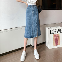skirt Spring 2021 S M L XL Denim blue longuette Versatile High waist A-line skirt Solid color Type A 18-24 years old XH1089#37 91% (inclusive) - 95% (inclusive) Denim Leisure trace other pocket New polyester 95% other 5% Pure e-commerce (online only)