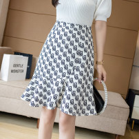 skirt Summer 2021 S M L XL 2XL White black Mid length dress Versatile High waist A-line skirt letter Type A 25-29 years old XH815#33 91% (inclusive) - 95% (inclusive) Chiffon Leisure trace other printing New polyester 95% other 5% Pure e-commerce (online only)