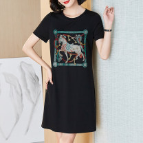 Women's large Summer 2021 black L (about 115-125 kg) XL (about 125-140 kg) 2XL (about 140-155 kg) 3XL (about 155-170 kg) 4XL (about 170-185 kg) 5XL (about 185-205 kg) Dress singleton  commute easy thin Socket Short sleeve Animal design Simplicity Crew neck Medium length nylon routine NN5135 other