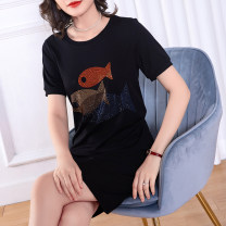 Women's large Summer 2020 black L (about 115-125 kg) XL (about 125-140 kg) 2XL (about 140-155 kg) 3XL (about 155-170 kg) 4XL (about 170-185 kg) 5XL (about 185-200 kg) Dress singleton  commute Straight cylinder thin Socket Short sleeve Animal pattern solid color Simplicity Crew neck Medium length