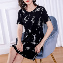 Women's large Summer 2020 black Dress singleton  commute easy thin Socket Short sleeve Decor Simplicity Crew neck Medium length polyester Three dimensional cutting routine Cotton Princess 35-39 years old tie-dyed Medium length Polyester 100% Pure e-commerce (online only)