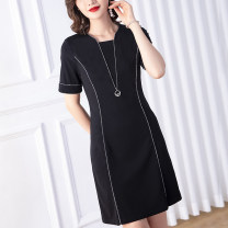 Women's large Summer 2020 black Dress singleton  commute Straight cylinder moderate Socket Short sleeve Stripe solid literature square neck Nylon others Three dimensional cutting routine Cotton Princess 35-39 years old Three dimensional decoration Medium length Pure e-commerce (online only)