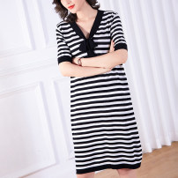 Women's large Summer 2020 stripe Dress singleton  commute easy thin Socket Short sleeve stripe Simplicity V-neck Medium length nylon Three dimensional cutting routine Cotton Princess 35-39 years old Bandage Medium length Viscose fiber (viscose fiber) 61.5% polyamide fiber (nylon) 38.5%