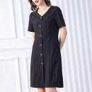 Women's large Summer 2020 black L (about 115-125 kg) XL (about 125-140 kg) 2XL (about 140-155 kg) 3XL (about 155-170 kg) 4XL (about 170-185 kg) 5XL (about 185-205 kg) m (about 100-115 kg) Dress singleton  commute Straight cylinder moderate Socket Short sleeve Stripe solid literature V-neck nylon