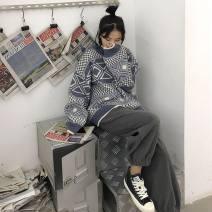 Women's large Winter 2020 One piece sweater, one piece wide leg pants, two piece sweater + wide leg pants M [recommended 95-106 kg] l [recommended 107-118 kg] XL [recommended 120-135 kg] s [recommended 80-95 kg] trousers Two piece set commute easy moderate Socket Long sleeves shape Korean version