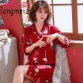 Nightdress Tang Meizi C8009,C8010,C8011 M (recommended: 80-100 kg), l (recommended: 100-120 kg), XL (recommended: 120-140 kg), 2XL (recommended: 140-160 kg), [free freight insurance, worry free shopping], [collection attention, priority delivery] sexy three quarter sleeve Leisure home Middle-skirt