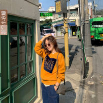 Sweater / sweater Autumn 2020 Mustard yellow One size non Plush has been delivered 24h, one size Plush has been delivered 24h Long sleeves routine Socket Plush Crew neck commute letter 25-29 years old Korean version A cotton Intradermal bile duct