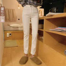 Casual pants White, black S,M,L Spring 2020 trousers Straight pants Natural waist commute 25-29 years old A Korean version