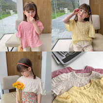 T-shirt Off white pink yellow 80cm 90cm 100cm 110cm 120cm 130cm female summer Short sleeve Crew neck Korean version There are models in the real shooting nothing cotton Solid color Cotton 90% other 10% Class B Summer 2021