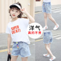 trousers ZUOBINEN female 110cm 120cm 130cm 140cm 150cm 160cm 170cm White (color button shorts + white T-shirt) white (one letter T-shirt) blue (one color button shorts) summer shorts leisure time There are models in the real shooting Jeans Leather belt middle-waisted Cotton elastic denim Other 100%