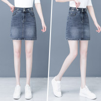 skirt Spring 2021 S/26 M/27 L/28 XL/29 2XL/30 XXXL/31 Smoke grey blue Middle-skirt Versatile High waist Denim skirt other Type A 25-29 years old Qmh-157 spring-55 81% (inclusive) - 90% (inclusive) Qian meihui cotton Pure e-commerce (online only)