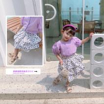 skirt 80cm,90cm,100cm,110cm,120cm,130cm,140cm Purple Polka dot skirt Fall in love with pretty girl female Other 100% summer skirt fresh Dot Cake skirt cotton
