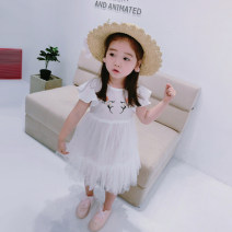 Dress white female Fall in love with pretty girl 80cm,90cm,100cm,110cm,120cm,130cm,140cm Other 100% summer lady Short sleeve Broken flowers Cotton blended fabric Pleats 18 months, 2 years old, 3 years old, 4 years old, 5 years old, 6 years old