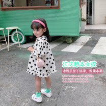 Dress White, white female Fall in love with pretty girl 80cm,90cm,100cm,110cm,120cm,130cm,140cm Cotton 95% viscose (viscose) 5% summer princess Dot cotton A-line skirt 12 months, 18 months, 4 years old, 2 years old, 3 years old, 5 years old, 6 years old, 7 years old