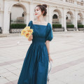 Dress Summer 2021 blue S,M,L,XL Mid length dress singleton  Short sleeve commute square neck High waist Solid color A-line skirt puff sleeve Type A CICI LADY Korean version 31% (inclusive) - 50% (inclusive)