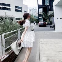 Dress Spring 2020 white S,M,L Short skirt singleton  Sweet High waist Single breasted Princess Dress puff sleeve Lace Lace