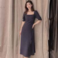 Dress Summer 2021 Navy Blue 2/S,3/M,4/L,5/XL Mid length dress singleton  Short sleeve commute One word collar High waist Solid color Socket A-line skirt bishop sleeve Others Type A Brother amashsin Simplicity 5500406-2062812-001 71% (inclusive) - 80% (inclusive) Cellulose acetate