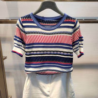 T-shirt blue 2/S,3/M,4/L,5/XL Summer 2021 Short sleeve Crew neck Self cultivation Regular routine commute Viscose 71% (inclusive) - 85% (inclusive) Simplicity classic Thin horizontal stripe Brother amashsin 5399632-3754520-001