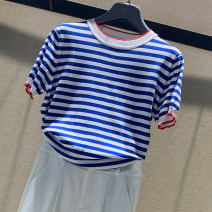 T-shirt Blue white, black and white 2/S,3/M,4/L,5/XL Summer 2021 Short sleeve Crew neck Self cultivation Regular routine commute Viscose 71% (inclusive) - 85% (inclusive) literature classic Thin horizontal stripe Brother amashsin 1399399-1F17635-001