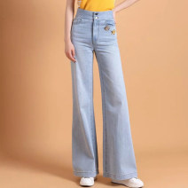 Jeans Summer 2021 blue 1/XS,2/S,3/M,4/L,5/XL trousers High waist Wide legged trousers routine Washable, Multi Pocket Cotton denim light colour 1100180-2053372-001 Brother amashsin 96% and above