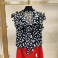 shirt Black, red 2/S,3/M,4/L,5/XL Summer 2021 polyester fiber 96% and above Sleeveless Original design Regular stand collar Single row multi button Broken flowers Self cultivation Brother amashsin 5300454-1A34011-001 Frenulum Chiffon