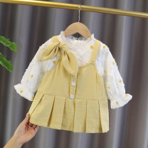 Dress Light yellow female Amaran 80cm 90cm 100cm 110cm 120cm Other 100% spring and autumn Korean version Long sleeves Solid color cotton A-line skirt Daisy dress with straps other Autumn 2020 12 months 6 months 9 months 18 months 2 years 3 years 4 years 5 years old Chinese Mainland Zhejiang Province