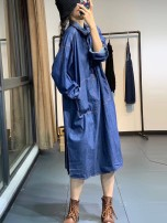 Dress Autumn 2020 black Average size Mid length dress singleton  Long sleeves commute Polo collar Loose waist Solid color Socket Other / other Korean version Pocket, button XR80093 More than 95% Denim cotton