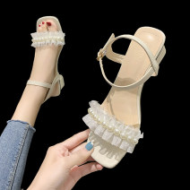 Sandals 35 36 37 38 39 Black Beige green PU Barefoot Thick heel Middle heel (3-5cm) Summer 2021 Flat buckle Korean version Solid color Adhesive shoes Youth (18-40 years old) rubber daily Rear trip strap Low Gang Lateral space PU PU Fashion sandals Shaving Pure e-commerce (online only)
