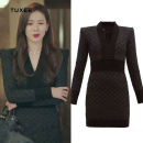 Dress Spring 2020 black S,M,L,XL Short skirt singleton  Long sleeves commute V-neck lattice Socket puff sleeve Type X TUXEE Korean version 8hbRK More than 95% nylon