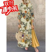 Dress Autumn of 2019 Green, yellow, navy L,2XL,M,5XL,3XL,4XL,S,XL longuette singleton  three quarter sleeve Crew neck High waist other Socket A-line skirt routine Others 25-29 years old Other Printing, splicing DS-19731