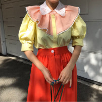 shirt Yellow, white Average size Summer 2020 other 30% and below Short sleeve Sweet Regular Doll Collar Single row multi button Solid color Yarol