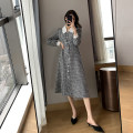 Dress Spring 2021 Black and white S,M,L,XL longuette singleton  Long sleeves commute square neck lattice Single breasted Princess Dress routine Others Type A Korean version 31% (inclusive) - 50% (inclusive) Wool hemp