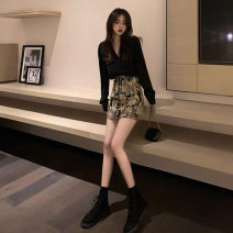Dress Spring 2020 Two piece set; black top + cat skirt, single; black top, single; cat skirt S,M,L,XL Short skirt Two piece set Long sleeves commute V-neck High waist Animal design Single breasted A-line skirt 18-24 years old Type A Korean version 31% (inclusive) - 50% (inclusive)