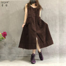 Dress Autumn of 2019 Black dark brown Average size Mid length dress singleton  Sleeveless commute Loose waist straps 30-34 years old Su Qian (clothing) Retro SQ7107 81% (inclusive) - 90% (inclusive) cotton Cotton 86.1% polyester 13.9%