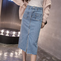 skirt Summer of 2019 S M L XL Light blue dark blue black Mid length dress commute High waist Denim skirt Solid color Type A 25-29 years old More than 95% Denim Qian Yuanqian other Korean version Other 100% Pure e-commerce (online only)