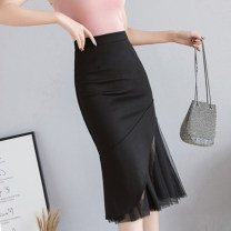 skirt Spring of 2019 S M L XL 2XL black Mid length dress commute High waist Splicing style Solid color Type A 25-29 years old More than 95% other Qian Yuanqian other Korean version Other 100% Pure e-commerce (online only)