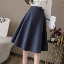 skirt Spring 2020 S M L XL 2XL Apricot blue Mid length dress commute High waist A-line skirt Solid color 25-29 years old More than 95% Qian Yuanqian other zipper Other 100% Pure e-commerce (online only)